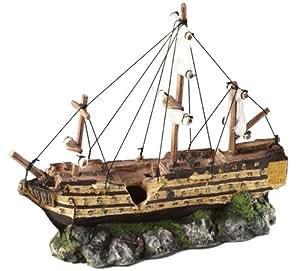 Aqua Della della barca a vela decorazione acquario, 37x 12x 28.5cm