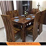 Custom Decor Six Seater Dining Table Set (Brown) (6 Seater Dining Table, Honey Teak with Foster Chair)