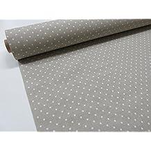 Metraje 0,50 mts tejido loneta estampada Ref. Motitas Blanco fondo Culla, con ancho 2,80 mts.