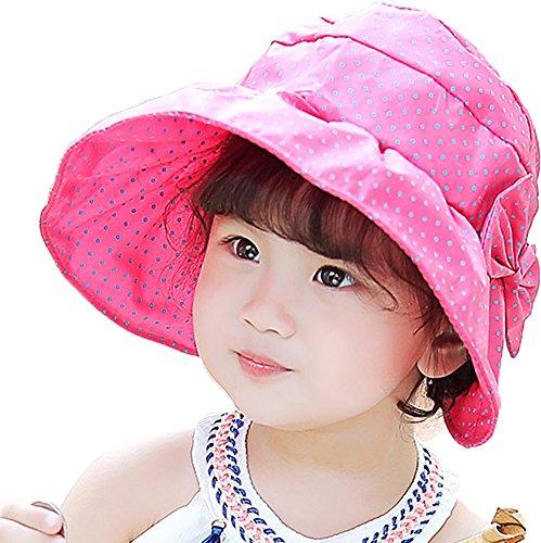 Ababalaya 2-9 Jahre alt Mädchen Katze Hund Tupfen Baumwolle Sonnenhut Strandhut Sommermütze Visier Visor UV-Schutz 50+,Rose Punktmuster