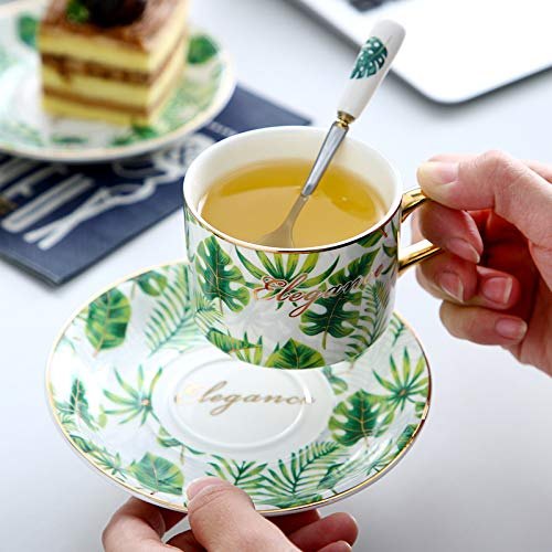 GGsmd Das Porzellan - Tasse Europäischen Goldenen Kanteneinsatz Knochen Porzellan - Tasse - Wasser - Cup,6 Tassen Und 6 Schmetterling Brokat - Boxen Brokat-cup