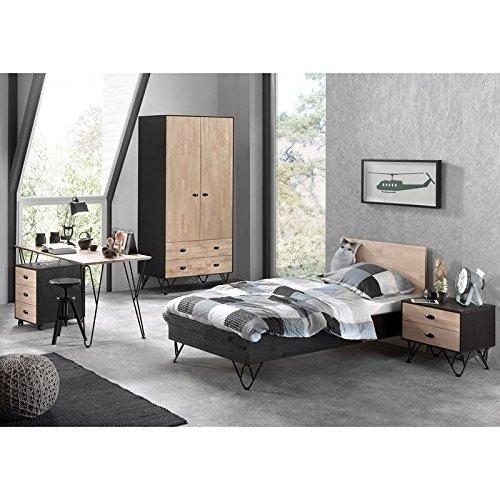 Birke-set Schreibtisch (Lomadox Jugendzimmer Komplettset massiv schwarz, Birke natur lackiert, 90x200 cm Jugendbett mit Nachttisch, 100cm Kleiderschrank 3-trg, Schreibtisch und Rollcontainer)