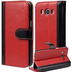 Cadorabo Coque pour Samsung Galaxy J5 2016 (6) Rouge Noir Bicolore Housse de Protection Portefeuille Etui Cover pour J5 2016 (6) - Stand Horizontal et Fente pour Carte