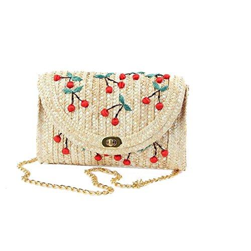 Yy.f Bag Paglia Cherry Straw Frutta Ricamati Borse Da Spiaggia Tridimensionale Messenger Ricamo Borse Tessute Pratici Interna A