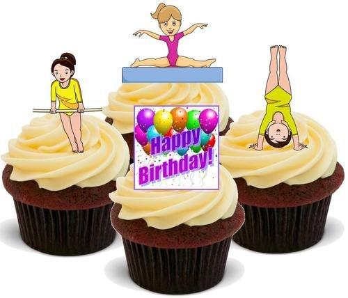 Gymnastik Happy Birthday Mix - 12 essbare hochwertige stehende Waffeln Karte Kuchen Toppers Dekorationen, Gymnastics Happy Birthday Mix - 12 Edible Stand Up Premium Wafer Card Cake Toppers Decorations
