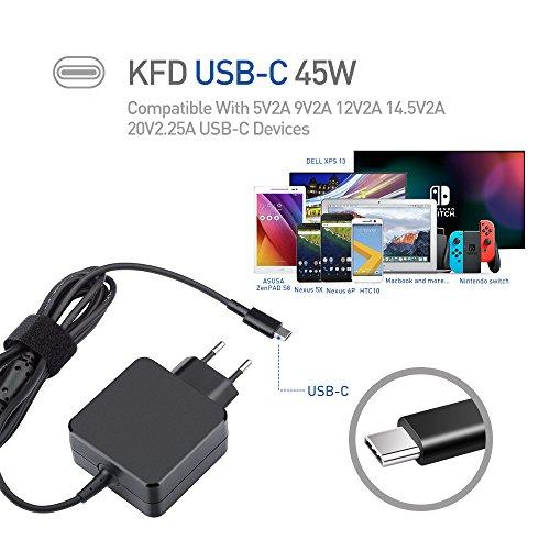 KFD Universal USB Type C Netzteil Netzladegerät 5V 9V 12V 15V 20V 45Watt Geeignet für USB-C Smartphones, Tablets und Ultrabooks z.b HP Spectre x360 13 TPN-CA01 Acer Travelmate B1 Lenovo Yoga 720 910 ThinkPad X1 Yoga5 Pro 4X20E75132 4X20E75135 00HM651/ Asus ZenBook 3, Miix 720 IdeaPad 720s Laptops - GX20M33579, Acer V15 Nitro /sf314 / ASUS GA-Z170X