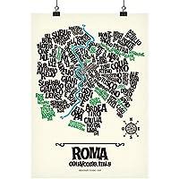 Roma - poster 50x70 cm stampato in serigrafia | mappa tipografica quartieri della città