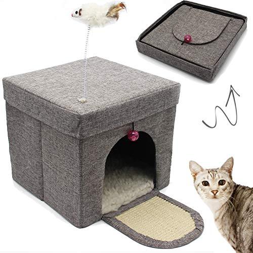 BPS Casa para Gatos Mascotas Portable Plegable con Juguete Ratón 30x30x29cm BPS-10707