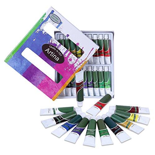 Artina Crylic Acrylfarben Set 18x12 ml Künstlerfarben, hochwertiges Farbset für Hobby-Künstler oder Malprofis