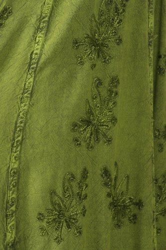 Sakkas Stein gewaschenen Empire-Taille einfache Floral gestreift Crepe Zipfelsaum Kleid Grün