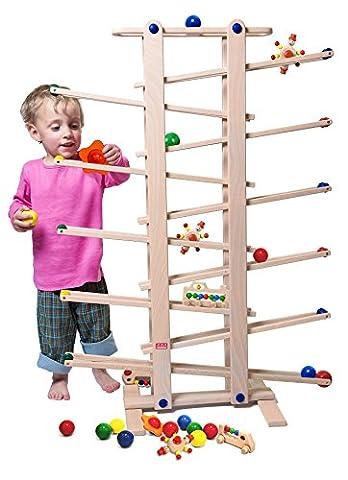 Circuit de billes Trihorse en bois pour enfants à partir de 1 ans, hauteur 1 mètre, nombreux accessoires, fabriqué en UE.