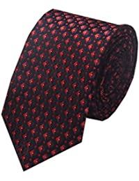 Navakasha Dark Maroon Micro Fiber Squares Design Slim Tie