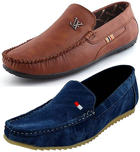 Maddy Men's Multicolor Mesh Combo Of 2 Loafers- 9
