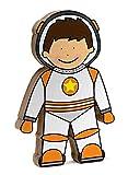 Spaceman Shelfie Space Toy freistehendes Regal aus Holz, Dekoration für Weltraum, Astronaut und Rakete, Orange und Weiß
