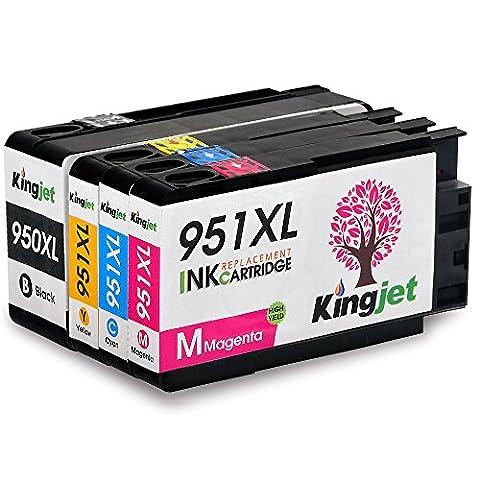 Kingjet 1 Set Compatible HP 950XL 951XL Cartouches d'encre Remplacement pour HP Officejet Pro 8600 8610 8620 8630 8640 8660 8615 8625 8100 251dw 276dw Imprimante(Noir/Cyan/Magenta/Jaune)