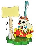 Unbekannt Zahnputzuhr / Zahnbürstenhalter - Hund im Flugzeug - mit Sanduhr + Zahnbürste - aus Holz - für Kinder / zum Zähneputzen für 1 Minute - Badezimmer Bad Kinderza..