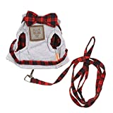 #9: Chinatera Adjustable Harness and Leash Collar Mesh Strap Vest Chest with Bowknot Cat S Grey