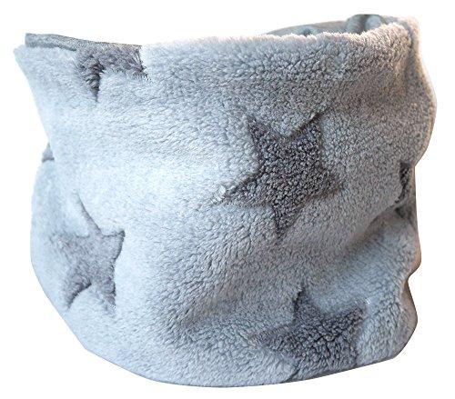 WOLLHUHN Warmes Halstuch, Schlupfschal, Schal in grau mit grauen Sternen für Jungen und Mädchen, Wellnessfleece, 20151130