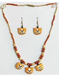 DollsofIndia Hand Painted Saffron Paper Pendant And Earrings With Wooden Beads - Paper And Wooden Beads (CR12-...