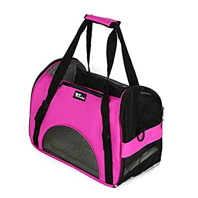 Amzdeal® Lightweight Strong Breathable Oxford Fabric Pet Dog Cat Puppy Travel Carry Carrier Tote Case Cage Tent Kennel Bag Crates (Pink)