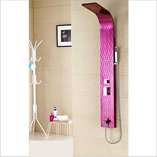 QYJ Edelstahl Duschpaneel Thermostatduschsäule Rainshowers Anzug Silber Gebürstet Rückenmassage,Pink