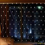 【2M × 3M 200LED 8 Modos de Flash】 Red Malla Cortina de Luz con Buen Brillo y Bajo Consumo de Energía Iluminación de la decoración para Ventanas Jardín Patios Fachadas Entradas Bares Navidad Día de San Valentín Bodas Luz de fondo
