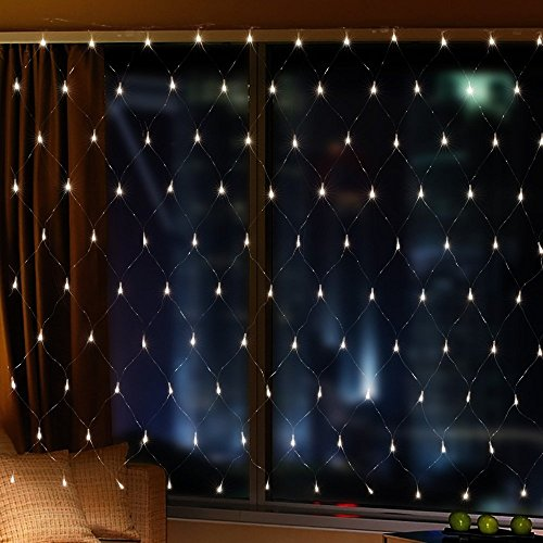【2M × 3M 200LED 8 Flash Modes】 Network Mesh Light Curtain with Good Brightness and Low Power Consumption Lighting decoration for Windows Bars Christmas