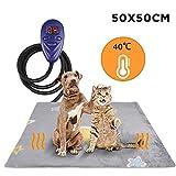 Zacro Heizmatte für Haustiere, sicheres Wärmekissen für den Innenbereich mit enthält wasserdichtes PVC Material, 7 Temperaturregulierung und Wärmeschutz, 50 * 50 cm