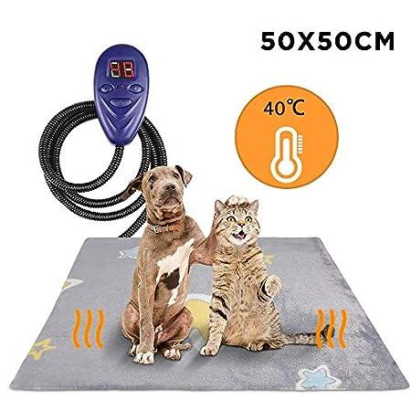 Zacro Heizmatte für Haustiere Hund Katze (50 * 50 cm), Heizdecke mit LED Anzeige und 7 Einstellbaren Temperaturen, Anti…