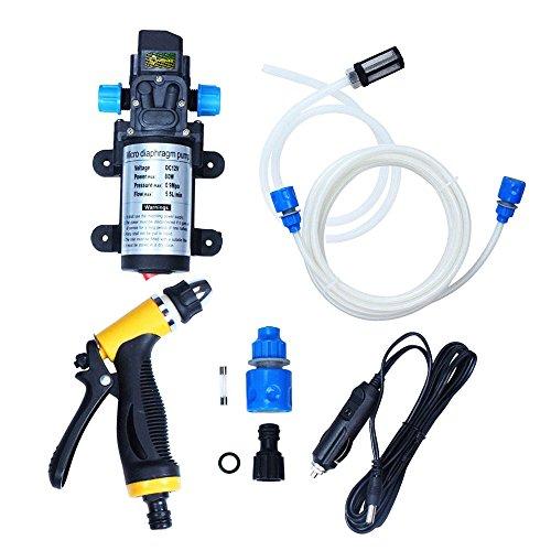 Preisvergleich Produktbild theBlueStone 80W 12V Auto Washer Kit Hochdruckwasserpumpe Wash Set Spritzpistole Elektrische selbstansaugend für Auto,Moto,Marine,PET,Fenster,Reisen,Gartenarbeit,Camping Waschen(131PSI)