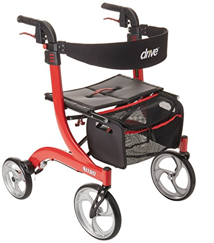 Drive Medical Nitro Euro Style Red Rollator Walker, Red by Drive Medical
