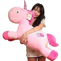 VineCrown Niños bebés peluches Unicornio Juguetes blandos Almohada de felpa unicornio cojines regalos (80cm, Pink Pegasus)