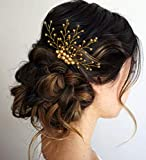 Hair Flare Hair Accessories for Women Stylish 1843 Pins Artificial Flowers Accessories for Weddings (Gold)