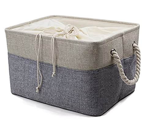 Natural Linen Folding Storage Baskets with Cotton Closure for Toys, Cloth Organizer, Book Storage, Storage Cube for Shelf, Gray