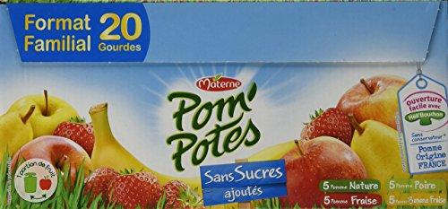 Pom'Potes Spécialités de Fruits sans Sucres Ajoutés Pomme/Pomme Poire/Pomme Fraise/Pomme Banane Fraise 20 x 90 g - Lot de 4 3021762420148