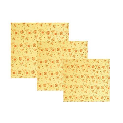 TOPBATHY 3 stücke Wiederverwendbare Bienenwachs Lagerung Von Lebensmitteln Tuch Wraps Bienen Muster Obst Sandwich Gemüse Mittagessen Baumwolle Papier für Lagerung Von Lebensmitteln (Wrap Papier Lagerung)