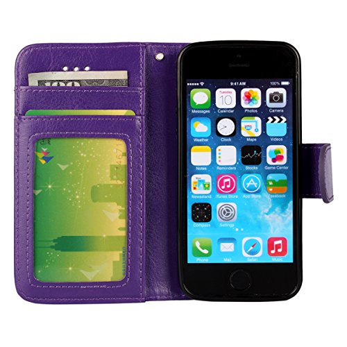 iPhone 5/5S Case, [Wallet Function] [Stand Feature] Vintage Crazy Horse Premium Leather Case, Flip Folio Book Cover with Magnetic Closure [Cash Pocket & 3 Credit Card Holders] (Rose) Purple