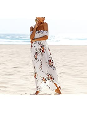 TYHHK Estate Floreale Fuori dalla spalla beachwear Primavera Vestito da promenade Vestito