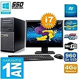 Dell PC-Tower 7010 Bildschirm 19 Zoll Core I7-3770 RAM 4 GB Festplatte 960 GB SSD WiFi W7