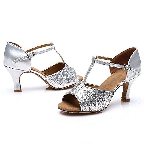 HROYL Damen Tanzschuhe/Latin Dance Schuhe Satin Ballsaal Modell-D7-216 Silber EU39 - 5