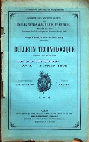 ANCIENS ELEVES DES ECOLES NATIONALES D'ARTS ET METIERS [No 2] du 01/02/1909