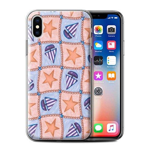 Stuff4 Gel TPU Hülle / Case für Apple iPhone X/10 / Pack (10 Modelle) / Boote und Sterne Kollektion Pfirsich/Lila