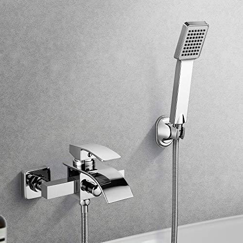BONADE Elegant Wannenarmatur Badewanne Armatur Badewannen- & Duschsysteme Duscharmatur Wasserhahn inkl. Wandhalterung mit Handbrause für Bad Badezimmer Dusche