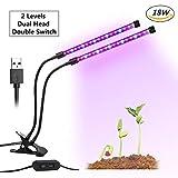 GLIME Lampe de Croissance Lumière Plante LED avec 2 Niveaux Double Interrupteurs Réglables 360 ° Col de Cygne pour l'Hydroponie de Serre Plante d'Intérieur