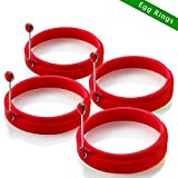 Egg Rings Silicone Non Stick Round Cooking Pancake Mould(4Pcs Red )