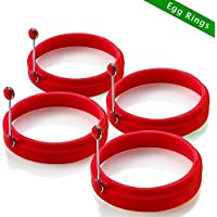 New Egg Ring, Silicone Egg Rings Non Stick, Egg Cooking Rings, Perfect Fried Egg Mold or Pancake Rings(4Pcs Red )