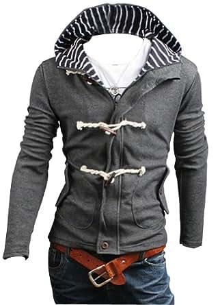 Keral Men's Hoodie Solid Color Hood Cardigan Slim Thickening Casual Sweatshirt Gray XXL
