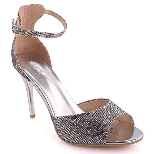 Unze Frauen 'Caroline' glitzerndem Ankle Strap Mid Low High Heel Party Prom Zusammen Karneval Abend Heel Sandalen Größe 3-8 - 6Q1613-3 Silber