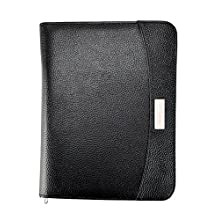 Arpan A5 Executive Conference Folder with Calculator & Pad Ring Binder Portfolio with A5 100 Punched Pocket - Black