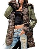 Aofur Damen Mantel Dick Faux Pelz Winter Kapuzenmantel Lange Wintermantel Jacke Parka Mode Pelz gefüttert Warm Outwear (42/44, Green_2)